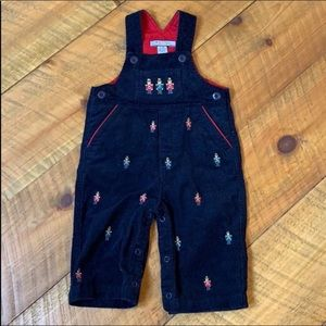 Navy corduroy bib overalls with toy soldiers 6-9 M
